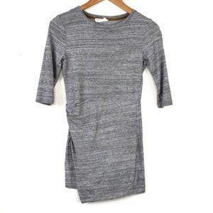 Zara Trafaluc Faux Wrap 3/4 Sleeve Gray Midi Dress